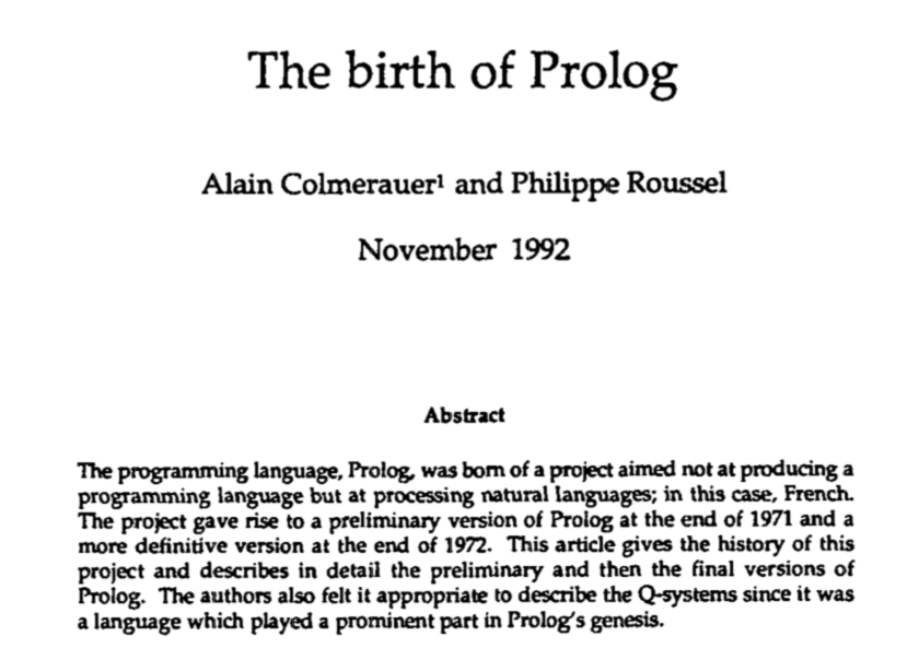 The Birth of Prolog